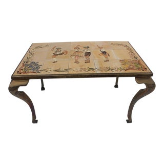 Vintage Brass & Ceramic Tile Top Coffee Table