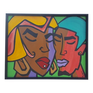 Jenny Perez Colorful Art Modern Figural Abstract Painting .