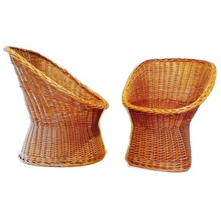 Vintage Rattan Pod Chairs - A Pair