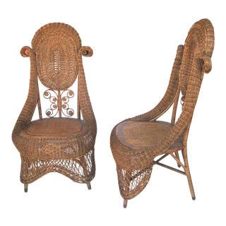 Boho Victorian Style Wicker Chairs - A Pair