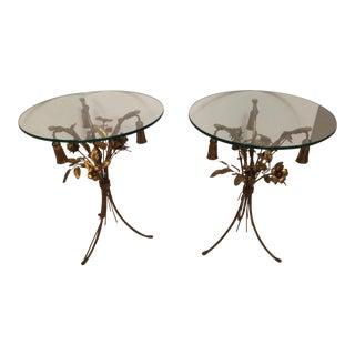 Vintage Gold Leaf End Tables - A Pair
