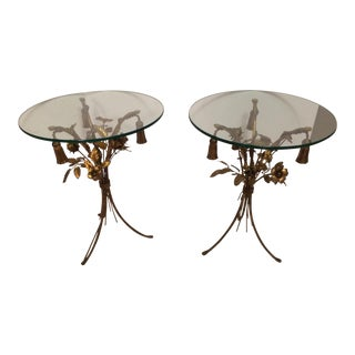 Vintage Gold Leaf End Tables - A Pair