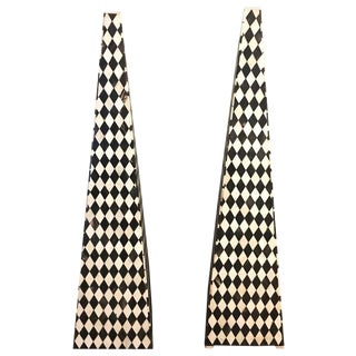 Italian Black & White Inlaid Bone Obelisks - a Pair