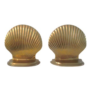 Brass Figural Clam Shell Bookends - a Pair