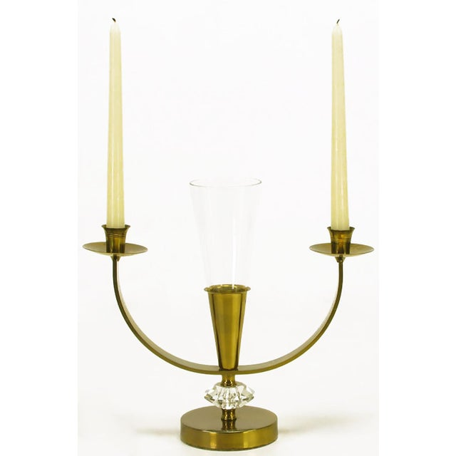 Pair of Brass and Crystal Candelabra - Image 4 of 6