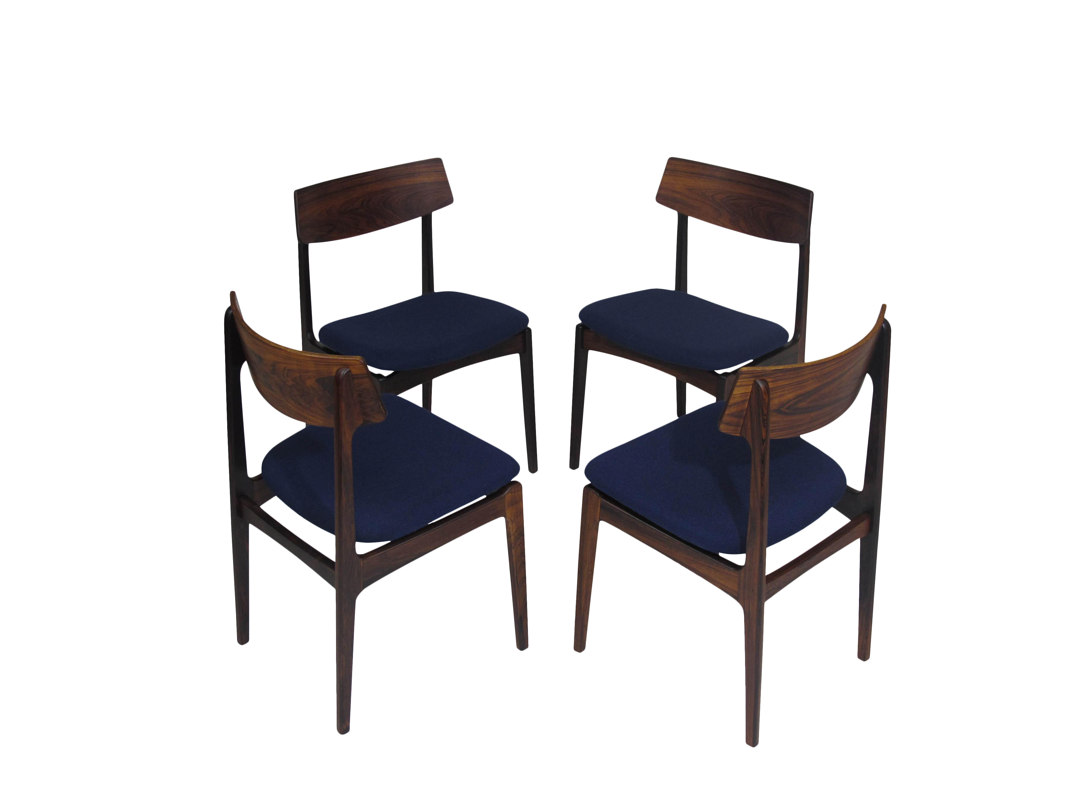 4 Solid Rosewood Danish Dining Chairs   Image 1 Of 7