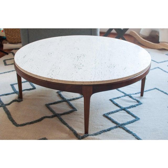 Vintage Travertine and Hardwood Coffee Table - Image 3 of 10