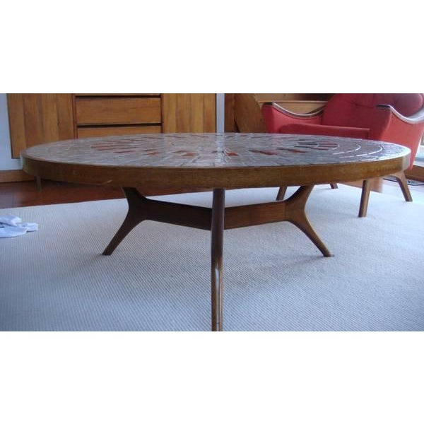 Image of Mid-Century Ceramic Tiled Walnut Coffee Table