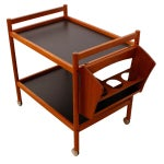 Image of Danish Teak Bar Cart With Removable Wine Caddy