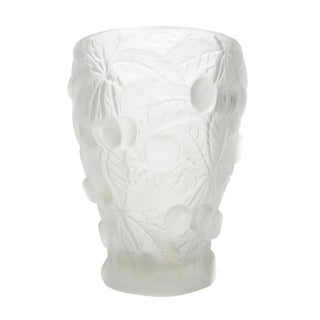 Cherry Relief Frosted Art Glass Vase