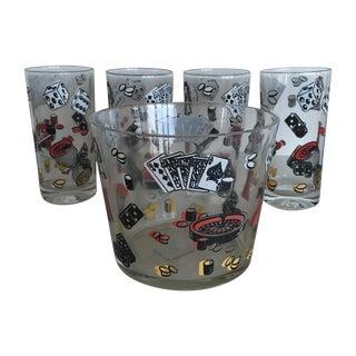 Mid-Century Ice Bucket & Casino Tumbler Set - 5