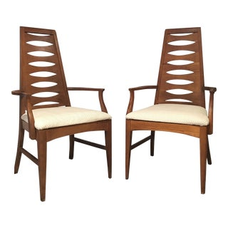 Mid-Century High-Back Armchairs - A Pair