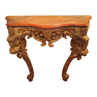 Muscular Faux Marble Rococo Console