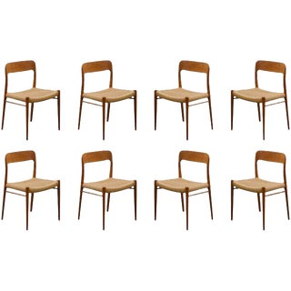 Stellar Original Set of Eight Moller #75 Chairs in Teak