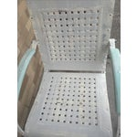 Image of Mid-Century White Patio Chairs - A Pair