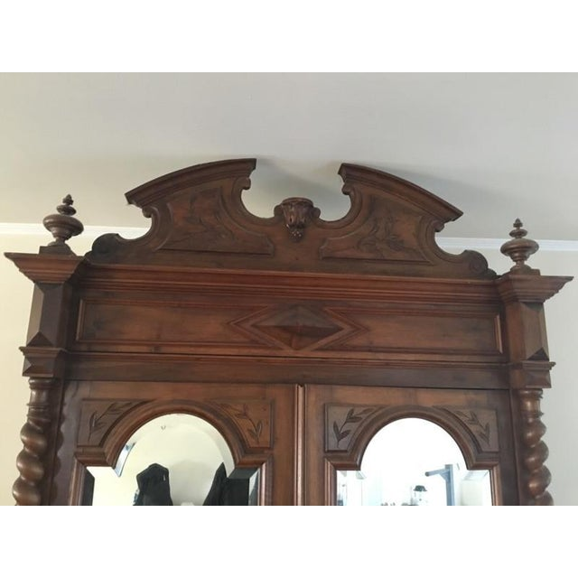 Rococo Revival Style Mahogany Mirrored Armoire - Image 5 of 10
