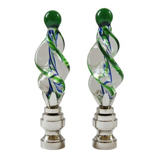 Kelly Green and Royal Blue Art Glass Twist Finials - a Pair