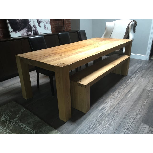 Reclaimed Russian Oak Parsons Table and Bench - Image 2 of 4