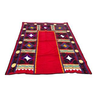 Vintage Bukhara Suzani Red Tapestry