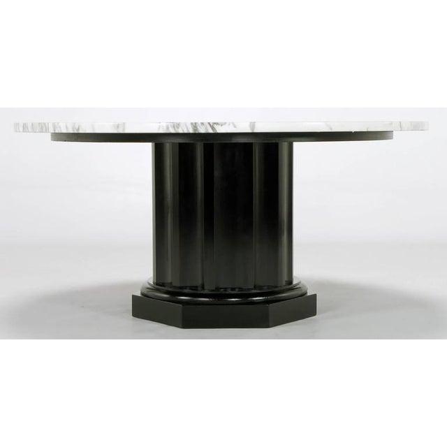 White Carrara Marble Coffee Table with Ebonized Fluted Wood Base - Image 5 of 7