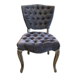 Vintage Button Tufted Upholstered Velvet Carved Wood Vanity Chair
