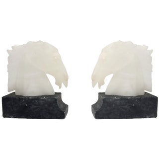 Vintage Alabaster Horse Head Bookends - A Pair