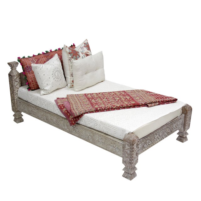 Syrian Whitewashed Daybed with Floral Details - Image 3 of 7
