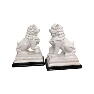 White Wood Foo Dogs - A Pair
