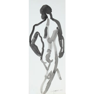 L. Lengyel Vintage 1979 Ink Wash Nude Painting