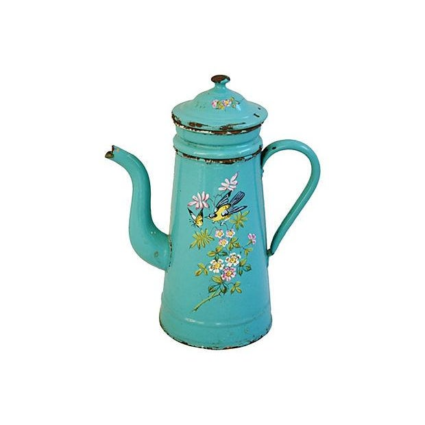 Image of French Hand-Painted Enameled Cafetière/Coffee Pot