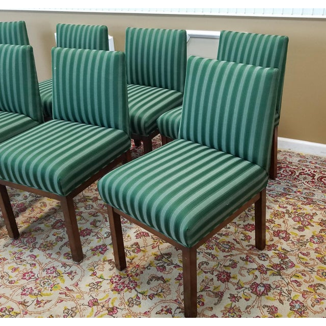 1970s directional contract furniture green striped for Striped upholstered dining chairs