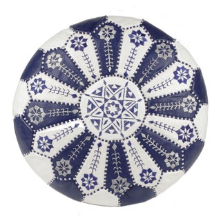 Embroidered Leather Pouf in Royal Blue/White (Stuffed)