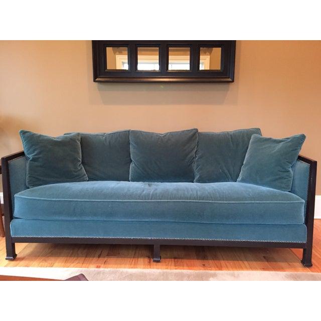 Image of Ferguson & Copeland Belgium Mohair Peacock Green Sofa