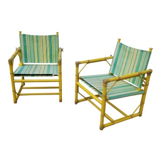 Vintage McGuire Furniture Rattan Patio Chairs - A Pair