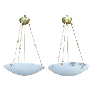 Alabaster & Bronze Chandeliers- A Pair