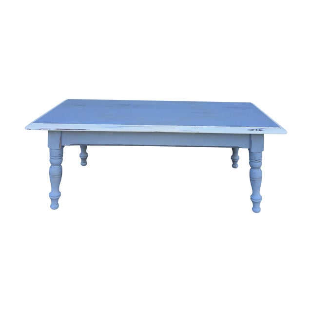 Painted Retro Coffee Table: Vintage Hand Painted Coffee Table/Entryway Bench