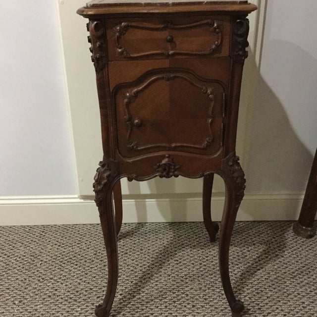 Image of Antique French Country Marble Top Nightstand