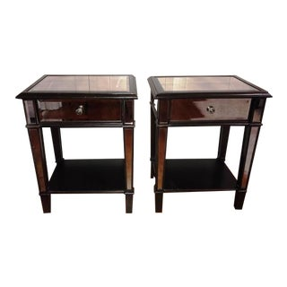 Black Beveled Mirrored Nightstands - a Pair