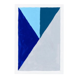 Contemporary Geometric Blue & Gray Painting