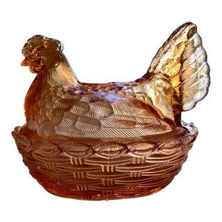 Amber Glass Hen on Nest Covered Dish