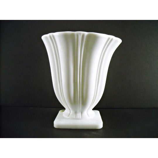 Art Deco Milk Glass Planter Urn Vase - Image 3 of 5