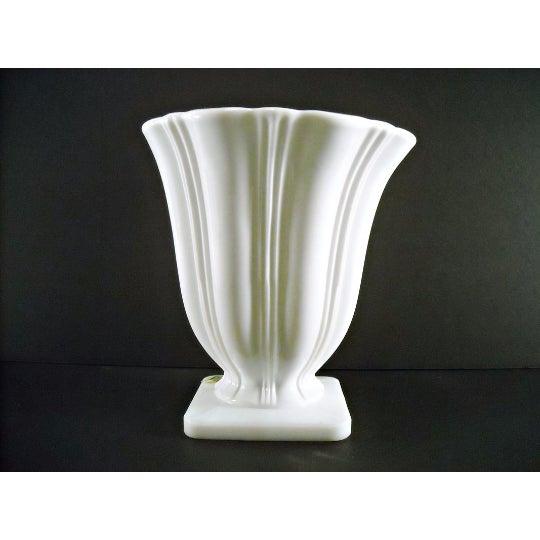 Image of Art Deco Milk Glass Planter Urn Vase