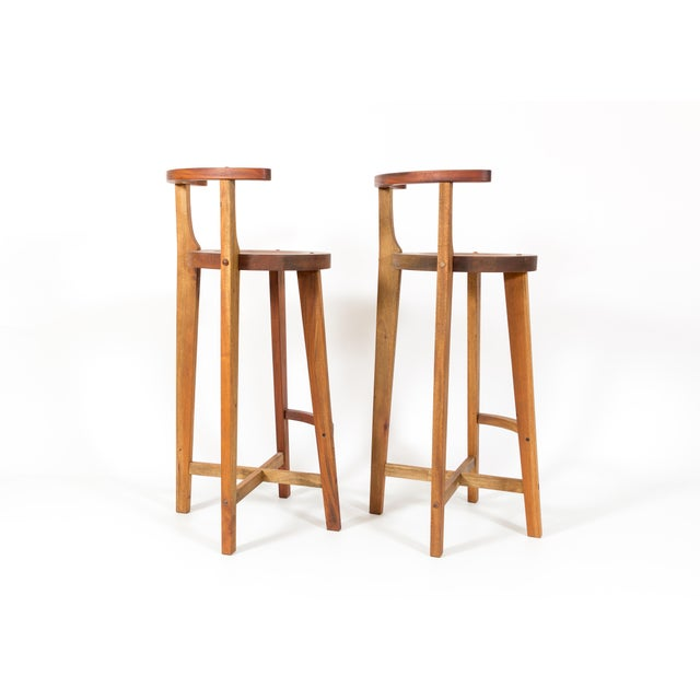 Image of Vintage Modern Studio Wood Bar Stools - A Pair