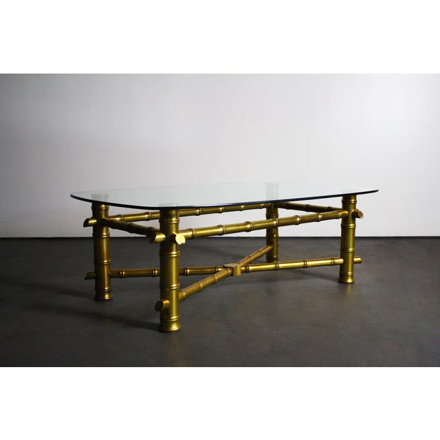 Hollywood Regency Gold Leaf Bamboo Coffee Table Chairish