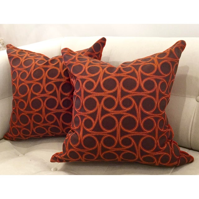 Kravet Orange Circle Jacquard/Pollack Orange Silk Velvet Pillows - a Pair - Image 4 of 8