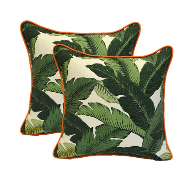 Image of Green Swaying Palms Orange Cording Pillows - Pair