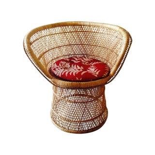 Mid Century Peacock Rattan Barrelback Chair