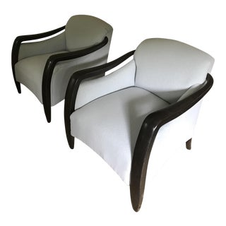 Ebony Framed Club Chairs - A Pair