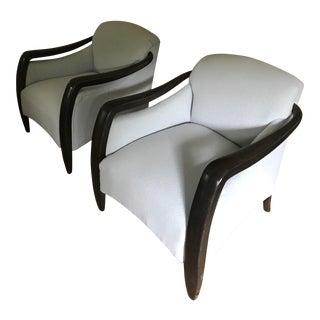 Vintage Ebony Club Chairs - a Pair
