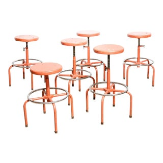 Industrial Orange Stools - Set of 6